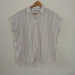 Madewell short sleeved striped button down EUC M